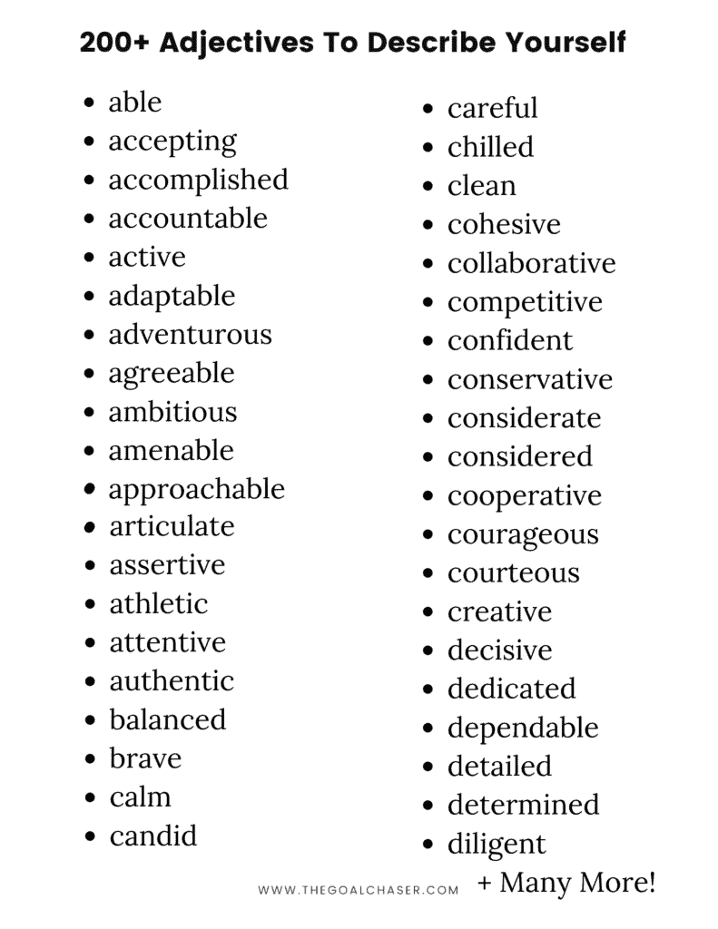 Adjectives to describe yourself are what How would