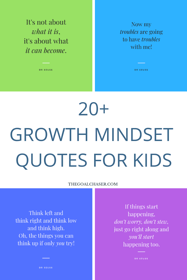 Growth Mindset quotes for kids: Imagine empowering your kids with a growth mindset – how to deal with challenges and obstacles, the importance of continued learning and how to best receive feedback and criticism.